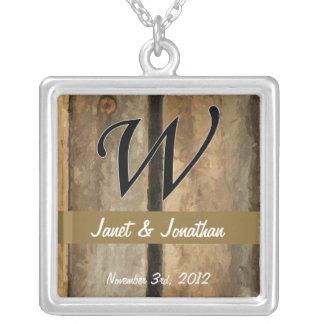w Monogram Vertical Boards Square Pendant Necklace