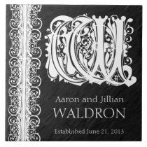 "W Monogram ""White Lace on Black"" Wedding Tile"
