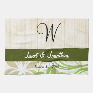 W Monogram with an Abstract Floral Kitchen Towel