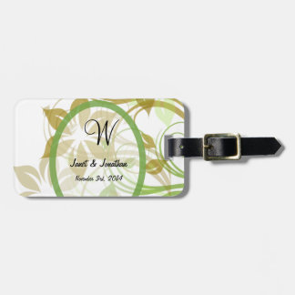 W Monogram with an Abstract Floral Luggage Tags