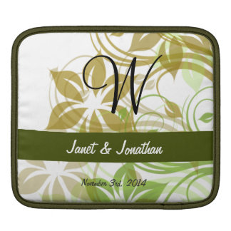 W Monogram with an Abstract Floral Sleeve Sleeve For iPads