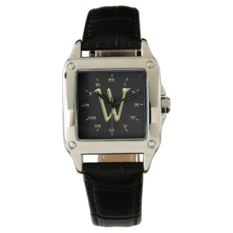 W Monogrammed with Roman Numerals Wrist Watch