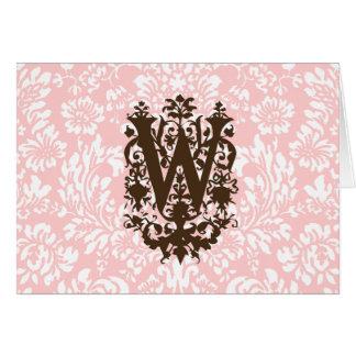 W - Ornate Baroque Monogram Card