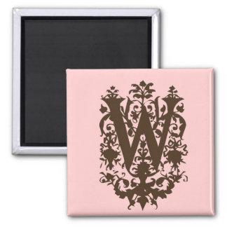 W - Ornate Baroque Monogram Magnet