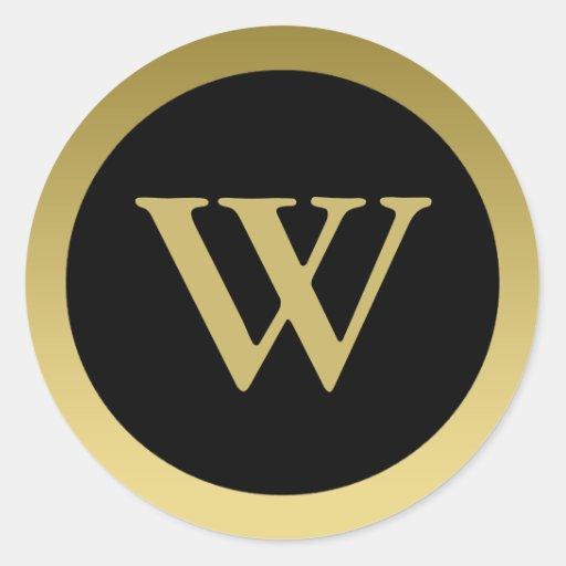 W:: Oro elegante del monograma W y pegatina negro