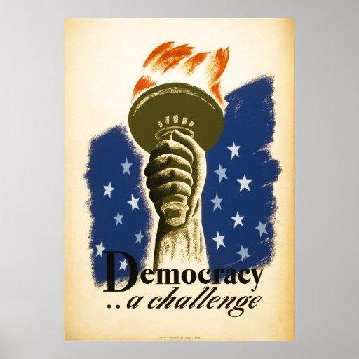 W.P.A POSTER que promueve la DEMOCRACIA C. 1938