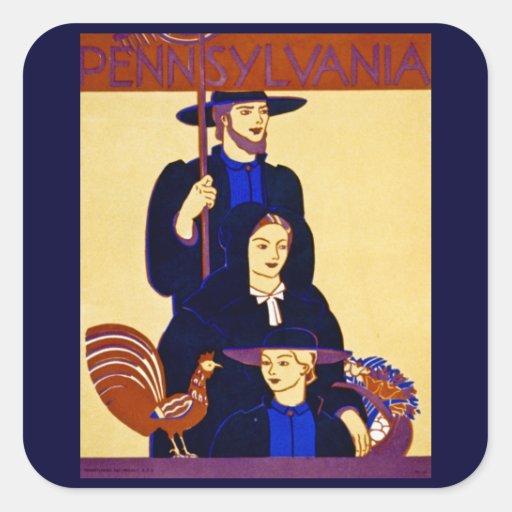 W.P.A. Vintage del poster del viaje de Pegatina Cuadrada