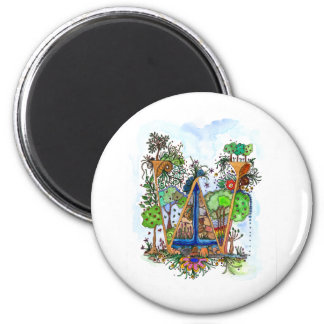 W painted 2 inch round magnet