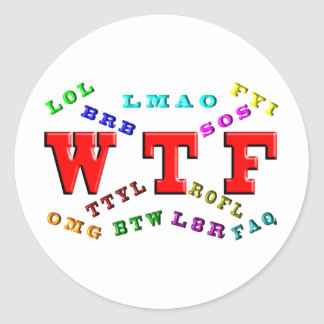 W T F and Computer Slang Round Sticker