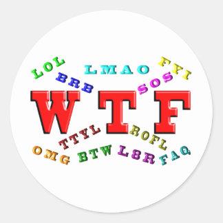 W T F y argot del ordenador Pegatina Redonda