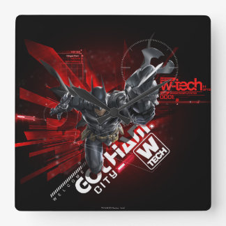 W-Tech Red Batman Graphic Square Wall Clock