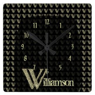 W - The Falck Alphabet (Golden) Square Wall Clock
