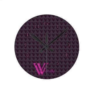 W - The Falck Alphabet (Pink) Round Clock