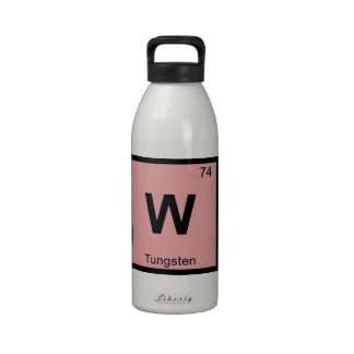 W - Tungsten Chemistry Periodic Table Symbol Reusable Water Bottles