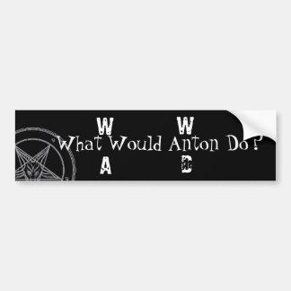 W.W.A.D. ¿Qué Antón haría? (Impresión blanca) Etiqueta De Parachoque