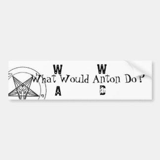 W.W.A.D. ¿Qué Antón haría? (Impresión negra) Pegatina De Parachoque