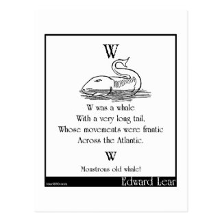 W was a whale postcard
