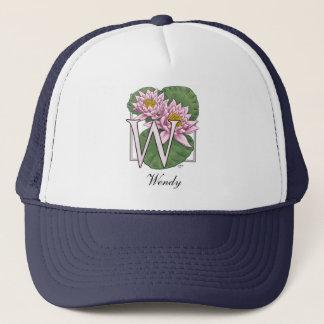 W Water Lily Flower Monogram Trucker Hat