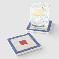 W Whiskey Watercolor Nautical Signal Maritime Flag Stone Coaster