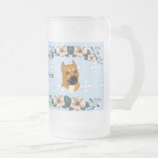 ~ w/White azul Diam de Staffordshire Terrier ameri Taza