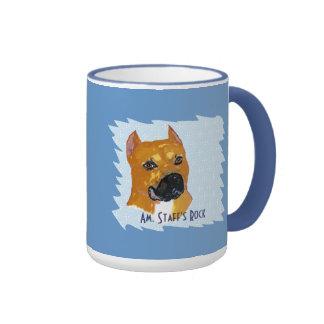 ~ w/White azul Diam de Staffordshire Terrier ameri Tazas De Café