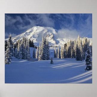 WA, el Monte Rainier NP, el Monte Rainier y paraís Póster
