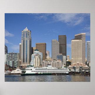 WA, horizonte de Seattle, Seattle con el transbord Posters