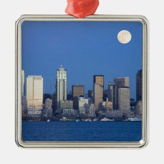 WA, horizonte de Seattle, Seattle y bahía 2 de Adorno Navideño Cuadrado De Metal