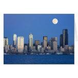 WA, horizonte de Seattle, Seattle y bahía 2 de Ell Tarjeta De Felicitación