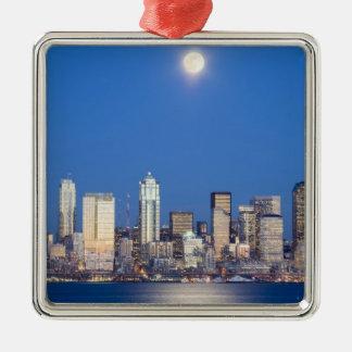WA, horizonte de Seattle, Seattle y bahía 3 de Adorno Navideño Cuadrado De Metal