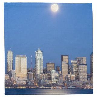 WA, horizonte de Seattle, Seattle y bahía 3 de Ell Servilletas Imprimidas