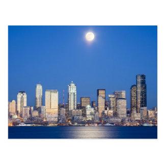 WA, horizonte de Seattle, Seattle y bahía 3 de Ell Tarjetas Postales