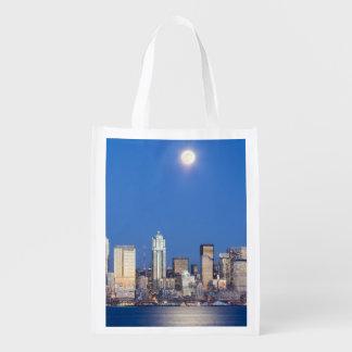 WA, horizonte de Seattle, Seattle y bahía 3 de Ell Bolsas De La Compra