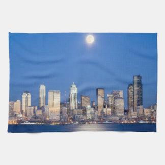 WA, horizonte de Seattle, Seattle y bahía 3 de Toalla De Cocina