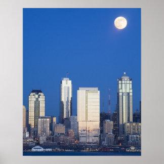 WA, horizonte de Seattle, Seattle y bahía 4 de Ell Impresiones