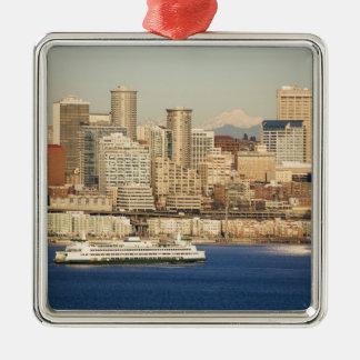 WA, horizonte de Seattle, Seattle y Elliott aúllan Adorno Navideño Cuadrado De Metal