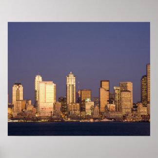 WA, horizonte de Seattle, Seattle y Elliott aúllan Impresiones