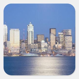 WA horizonte de Seattle Seattle y Elliott aúllan Calcomanías Cuadradas