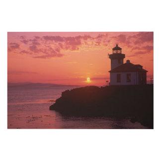 WA, isla de San Juan, horno de cal Lighthouse, 191 Impresiones En Madera