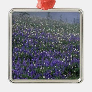WA, Mt. Rainier NP, Lupine and Bistort meadow Metal Ornament