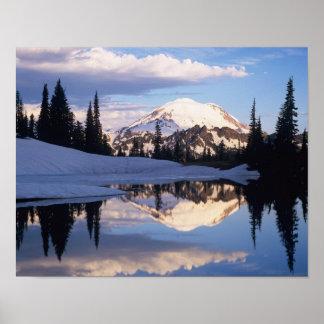 WA, Mt. Rainier NP, Mt. Rainier and clouds Posters