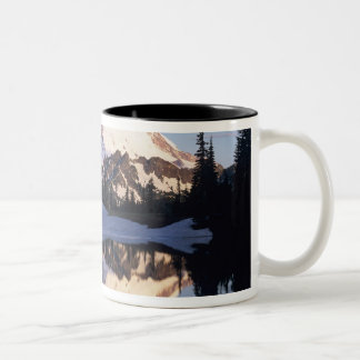 WA, Mt. Rainier NP, Mt. Rainier and clouds Two-Tone Coffee Mug