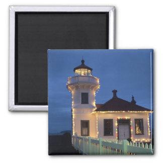 WA, Mukilteo, Mukilteo Lighthouse, established 2 Inch Square Magnet