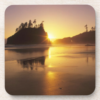 WA, Olympic NP, Second Beach at sunset Drink Coaster