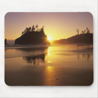 WA, Olympic NP, Second Beach at sunset Mouse Pad