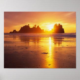 WA, Olympic NP, Shi Shi beach at sunset, Point Poster