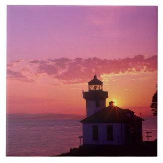 WA, San Juan Island, Lime Kiln Lighthouse, 1919, 2 Ceramic Tile