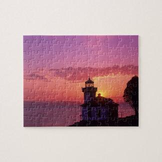 WA, San Juan Island, Lime Kiln Lighthouse, 1919, 2 Jigsaw Puzzles