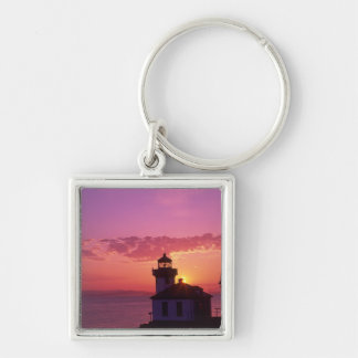 WA, San Juan Island, Lime Kiln Lighthouse, 1919, 2 Silver-Colored Square Keychain