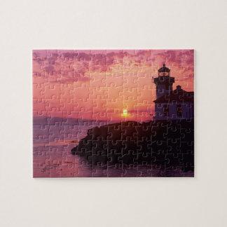 WA, San Juan Island, Lime Kiln Lighthouse, 1919, Jigsaw Puzzle